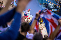 Picture by Alex Whitehead/SWpix.com - 06/03/2016 - Cycling - 2016 UCI Track Cycling World Championships, Day 5 - Lee Valley VeloPark, London, England - Great Britain's Laura Trott celebrates winning Gold in the Women's Omnium.