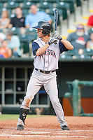 Colorado Springs Sky Sox left fielder Evan Frey (17) at bat during the Pacific League game against the Oklahoma City RedHawks at the Chickasaw Bricktown Ballpark on August 3, 2014 in Oklahoma City, Oklahoma.  The RedHawks defeated the Sky Sox 8-1.  (William Purnell/Four Seam Images)