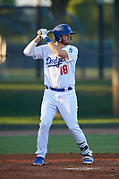 AZL Dodgers Lasorda Brandon Lewis (18) at bat during an Arizona League game against the AZL Athletics Green at Camelback Ranch on June 19, 2019 in Glendale, Arizona. AZL Dodgers Lasorda defeated AZL Athletics Green 9-5. (Zachary Lucy/Four Seam Images)