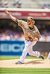 23 June 2013: San Diego Padres  starting pitcher Andrew Cashner on the mound against the Los Angeles Dodgers at Petco Park in San Diego, California. The Dodgers defeated the Padres 3-1, splitting their 4-game Divisional Series at 2-2. Mandatory Credit: Ed Wolfstein Photo *** RAW (NEF) Image File Available ***