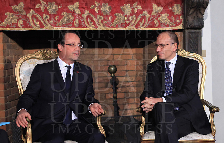 Il Presidente del Consiglio Enrico Letta incontra il Presidente francese Francois Hollande, a sinistra, in occasione del vertice intergovernativo italo-francese a Villa Madama, Roma, 20 novembre 2013.<br />