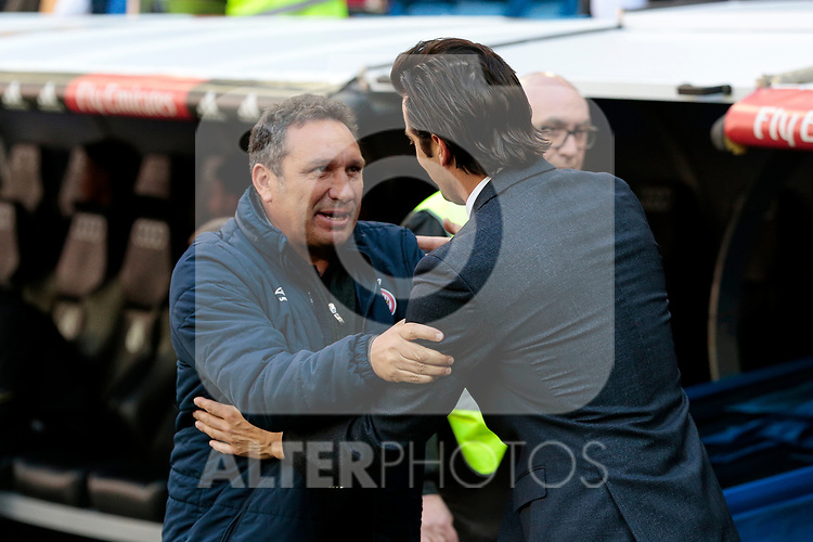 Real Madrid's coach Santiago Solari and Girona FC's coach Eusebio Sacristan during La Liga match between Real Madrid and Girona FC at Santiago Bernabeu Stadium in Madrid, Spain. February 17, 2019. (ALTERPHOTOS/A. Perez Meca)