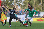 08.09.2018, pk-Sportpark, Cloppenburg, GER, FSP, SV Meppen vs Werder Bremen <br /> <br /> DFL REGULATIONS PROHIBIT ANY USE OF PHOTOGRAPHS AS IMAGE SEQUENCES AND/OR QUASI-VIDEO.<br /> <br /> im Bild / picture shows<br /> David Vrzogic (SV Meppen #27 im Duell / im Zweikampf mit Joshua Sargent (Werder Bremen #19), Steffen Puttkammer (SV Meppen #22), <br /> <br /> Foto &copy; nordphoto / Ewert