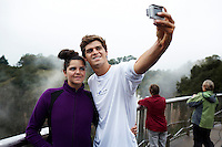 HOWICK, SOUTH AFRICA APRIL 5: Sixteen-year-old swimmer Michael Andrew takes a selfie with his sister Michaela on April 5, 2015 in Howick, Natal, South Africa. Michael has broken many records already and he is seen as the new Michael Phelps. He turned pro at 14 after signing his first endorsement deal. Peter, his father trains Michael and he grew up in the US. His parents emigrated from South Africa and he spent some time in the country in April 2015 to visit his grandparents. (Photo by: Per-Anders Pettersson)