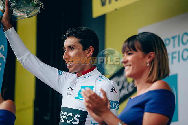 Egan Bernal (COL) Team Ineos finishes in 8th place at the end of Stage 18 and retains the White Jersey of the 2019 Tour de France running 208km from Embrun to Valloire, France. 25th July 2019.<br /> Picture: ASO/Thomas Maheux   Cyclefile<br /> All photos usage must carry mandatory copyright credit (© Cyclefile   ASO/Thomas Maheux)