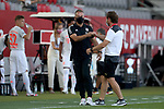 Hansi Flick Trainer head coach von FC Bayern Muenchen mit Andre Villas-Boas head coach of Olympique Marseille<br /><br />Testspiel Audi Football Summit FC Bayern Muenchen - Olympique Marseille  auf dem FC Bayern Campus<br />Saisonvorbereitung  2020 / 2021  <br /><br />Foto : Stefan Matzke / sampics / Pool via nordphoto / Bratic<br /><br />Nur für journalistische Zwecke ! Only for editorial use !<br /><br />DFL regulations prohibit any use of photographs as image sequences and/or quasi-video