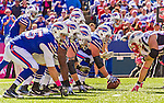 12 October 2014: The Buffalo Bills offensive line are set up against the New England Patriots at Ralph Wilson Stadium in Orchard Park, NY. The Patriots defeated the Bills 37-22 to move into first place in the AFC Eastern Division. Mandatory Credit: Ed Wolfstein Photo *** RAW (NEF) Image File Available ***