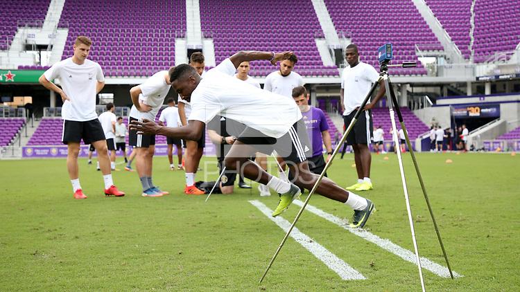 Orlando, Florida - Friday January 12, 2018: Sprint. The 2018 adidas MLS Player Combine Skills Testing was held Orlando City Stadium.