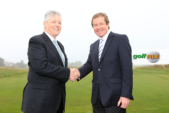 European Tour CEO George O'Grady and Rt. Hon. Peter robinson First Minister MLA at the Irish Open 2015 announcement, Royal County Down Golf Club, Newcastle, Down,Ireland.<br /> Picture: Fran Caffrey www.golffile.ie