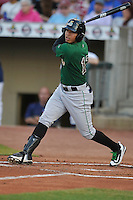 Clinton LumberKings Rayder Ascanio (13) swings during the game against the Cedar Rapids Kernels at Veterans Memorial Stadium on April 15, 2016 in Cedar Rapids, Iowa.  Clinton won 11-5.  (Dennis Hubbard/Four Seam Images)