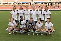 Houston, TX - Thursday Aug. 18, 2016: Washington Spirit Starting XI prior to a regular season National Women's Soccer League (NWSL) match between the Houston Dash and the Washington Spirit at BBVA Compass Stadium.