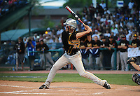 Jun. 1, 2010; Grand Junction, CO, USA; Southern Nevada Coyotes right fielder Bryce Harper hits a three run home run in the third inning against Iowa Western C.C. during the Junior College World Series as Suplizio Field. Southern Nevada won the game 12-7. Mandatory Credit: Mark J. Rebilas-