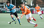 WASSENAAR - Hoofdklasse hockey heren, HGC-Bloemendaal (0-5) Florian Fuchs (Bldaal) met links Weigert Schut (HGC)      COPYRIGHT KOEN SUYK
