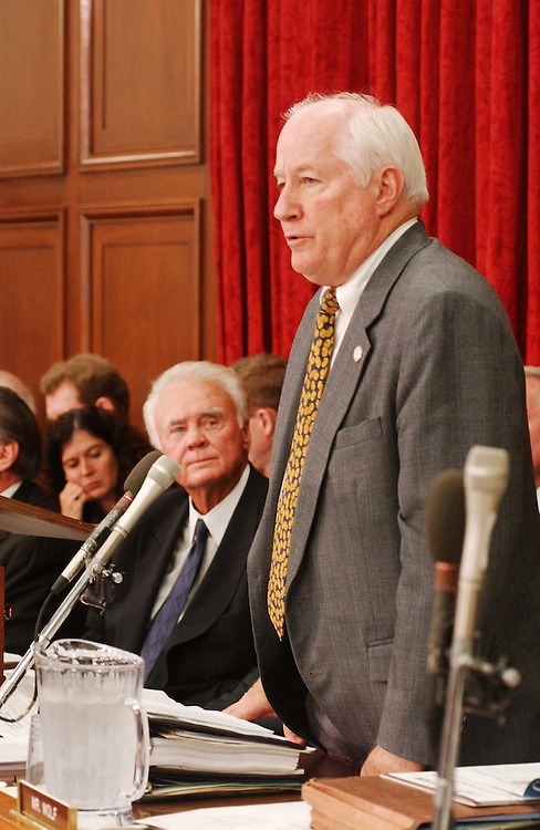 10/9/03.FISCAL 2004 SUPPLEMENTAL FOR IRAQ AND AFGHANISTAN--Jim Kolbe, R-Ariz., during the House Appropriations Committee markup of draft legislation that would make fiscal 2004 supplemental appropriations for operations in Iraq and Afghanistan. Looking on is Chairman C.W. Bill Young, R-Fla..CONGRESSIONAL QUARTERLY PHOTO BY SCOTT J. FERRELL