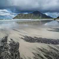 Patterns in sand at Skagsanden beach, Lofoten Islands, Norway