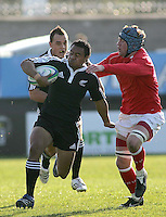 New Zealand scrum half Wayne Ngaluafe on the charge during the Division A clash against Wales at Ravenhill. Result New Zealand 37 Wales 14.