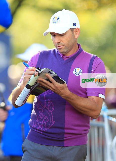 Sergio Garcia (EUR) during Practice on Wednesday at the 40th Ryder Cup, The Gleneagles Hotel, Perthshire from 26th to 28th September 2014<br /> Picture Eoin Clarke, www.golffile.ie