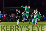 No 6 Killarney Celtic heads away from Michael Ryan Jamesboro in the FAI cup quarter final in Celtic Park on Saturday night