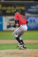 Billings Mustangs relief pitcher Andrew McDonald (48) delivers a pitch during a Pioneer League game against the Ogden Raptors at Lindquist Field on August 17, 2018 in Ogden, Utah. The Billings Mustangs defeated the Ogden Raptors by a score of 6-3. (Zachary Lucy/Four Seam Images)