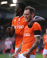 Blackpool's Harry Pritchard celebrates scoring his side's third goal with team-mate Joe Dodoo<br /> <br /> Photographer Kevin Barnes/CameraSport<br /> <br /> Emirates FA Cup First Round - Exeter City v Blackpool - Saturday 10th November 2018 - St James Park - Exeter<br />  <br /> World Copyright &copy; 2018 CameraSport. All rights reserved. 43 Linden Ave. Countesthorpe. Leicester. England. LE8 5PG - Tel: +44 (0) 116 277 4147 - admin@camerasport.com - www.camerasport.com