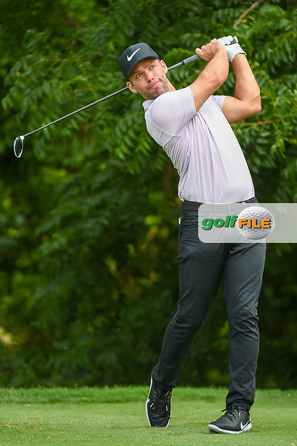 Paul Casey (GBR) watches his tee shot on 6 during round 1 of the 2019 Charles Schwab Challenge, Colonial Country Club, Ft. Worth, Texas,  USA. 5/23/2019.<br /> Picture: Golffile | Ken Murray<br /> <br /> All photo usage must carry mandatory copyright credit (© Golffile | Ken Murray)