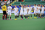 The Hague, Netherlands, June 10: Players of Germany line up prior to the field hockey group match (Men - Group B) between Germany and Korea on June 10, 2014 during the World Cup 2014 at Kyocera Stadium in The Hague, Netherlands. Final score 6-1 (3-0) (Photo by Dirk Markgraf / www.265-images.com) *** Local caption *** Felix Reuss #30 of Germany, Linus Butt #3 of Germany,Mats Grambusch #8 of Germany, Christopher Ruehr #17 of Germany, Benedikt Fuerk #24 of Germany, Jan Philipp Rabente #14 of Germany, Martin Haener #6 of Germany, Christopher Wesley #10 of Germany, Florian Fuchs #23 of Germany, Oliver Korn #18 of Germany