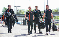 Blackpool manager Gary Bowyer arrives at the New York Stadium with Jimmy Ryan, Nick Anderton and Clark Robertson<br /> <br /> Photographer Alex Dodd/CameraSport<br /> <br /> The EFL Sky Bet League One - Rotherham United v Blackpool - Saturday 5th May 2018 - New York Stadium - Rotherham<br /> <br /> World Copyright &copy; 2018 CameraSport. All rights reserved. 43 Linden Ave. Countesthorpe. Leicester. England. LE8 5PG - Tel: +44 (0) 116 277 4147 - admin@camerasport.com - www.camerasport.com