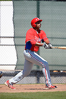 Philadelphia Phillies infielder Arthur Charles (7) hits a home run during a minor league Spring Training game against the New York Yankees at Carpenter Complex on March 21, 2013 in Clearwater, Florida.  (Mike Janes/Four Seam Images)