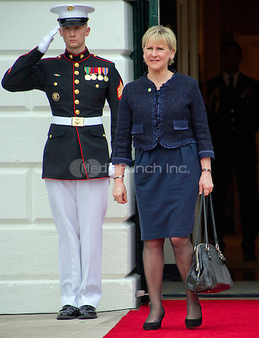 Margot Wallstr&circ;m, Minister for Foreign Affairs of the Kingdom of Sweden arrives for the working dinner for the heads of delegations at the Nuclear Security Summit on the South Lawn of the White House in Washington, DC on Thursday, March 31, 2016.<br /> Credit: Ron Sachs / Pool via CNP/MediaPunch