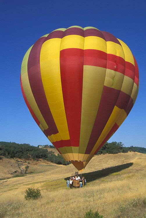 Hot air balloon at a winery in Sonoma County, California