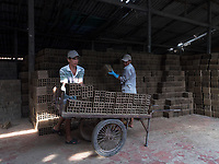 Workers preparing the wet Bricks for the Kiln. The Brick production and Kiln of Vinh Long in the Mekong Delta, Vietnam.