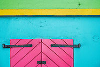 Brightly colored walls and shutters in St. Thomas, US Virgin Islands