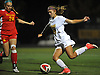 Samantha Adams #29 of St. Anthony's, right, looks to make a centering pass as Lauren Wasserman #24 of Sacred Heart Academy pressures her during the Nassau-Suffolk CHSAA varsity girls soccer final at Adelphi University on Wednesday, Nov. 1, 2017. St. Anthony's won by a score of 2-0.