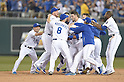Royals team group,<br /> SEPTEMBER 30, 2014 - MLB :<br /> Salvador Perez of the Kansas City Royals celebrates with his teammates including Norichika Aoki (L) after hitting the game winning RBI single in the bottom of the 12th inning during the American League Wild Card playoff baseball game against the Oakland Athletics at Kauffman Stadium in Kansas City, Missouri, United States. (Photo by AFLO)