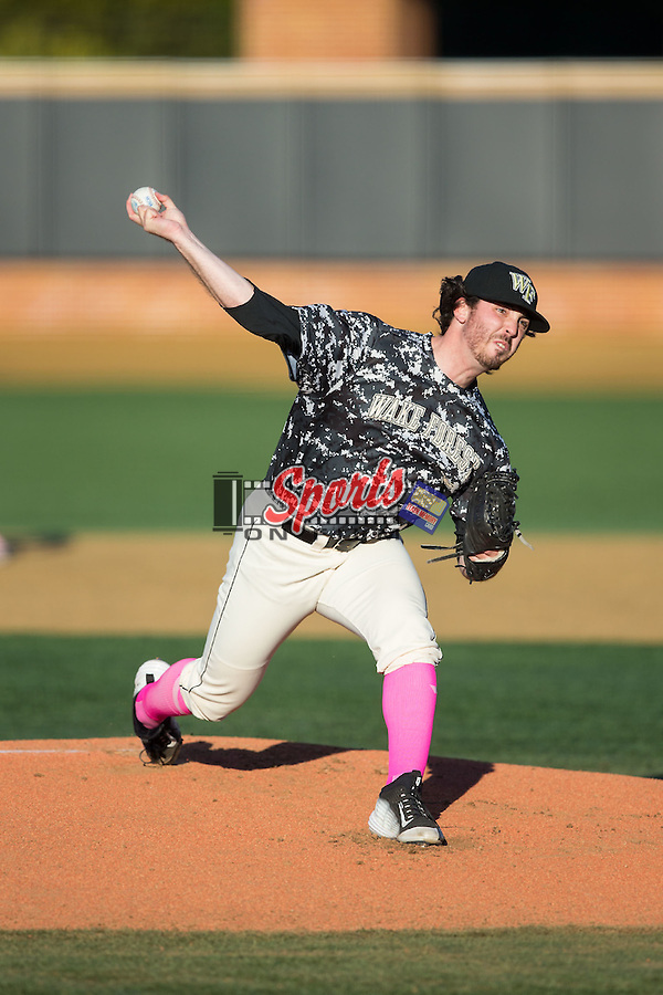 Wake Forest Demon Deacons starting pitcher Matt Pirro (1) in action against the Virginia Tech Hokies  in game two of a doubleheader at Wake Forest Baseball Park on March 7, 2015 in Winston-Salem, North Carolina.  (Brian Westerholt/Sports On Film)