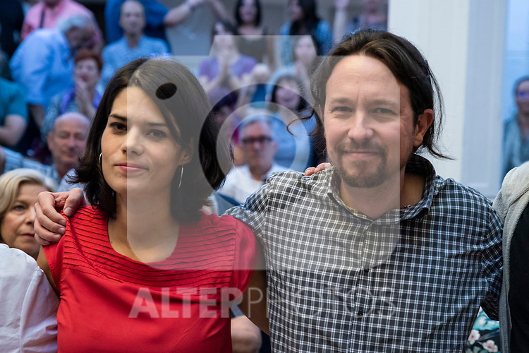 Pablo Iglesias, secretary general of Podemos; and Isa Serra, spokesperson for United Podemos in the Madrid Assembly; in a meeting of Podemos with people in Madrid where they exchange points of view, listen to concerns and draw shared horizons.<br /> October 5, 2019. <br /> (ALTERPHOTOS/David Jar)
