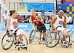 November 18 2011 - Guadalajara, Mexico:   Janet Margaret McLachlan of Team Canada contols the ball while taking on Team USA in the Gold Medal Game in the CODE Alcalde Sports Complex at the 2011 Parapan American Games in Guadalajara, Mexico.  Photos: Matthew Murnaghan/Canadian Paralympic Committee