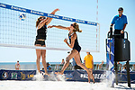 GULF SHORES, AL - MAY 07: Sarah Seiber (24) of Pepperdine University hits a shot past Amy Ozee (3) of the University of Hawaii during the Division I Women's Beach Volleyball Championship held at Gulf Place on May 7, 2017 in Gulf Shores, Alabama. Pepperdine defeated Hawaii 3-0 to advance to the championship game.  (Photo by Stephen Nowland/NCAA Photos via Getty Images)