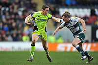 Sam James of Sale Sharks looks to fend Sam Harrison of Leicester Tigers. Aviva Premiership match, between Leicester Tigers and Sale Sharks on February 6, 2016 at Welford Road in Leicester, England. Photo by: Patrick Khachfe / JMP