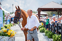AUS-Bill Levett presents Lassban Diamond Lift during the First Horse Inspection for the FEI World Team and Individual Eventing Championship. 2018 FEI World Equestrian Games Tryon. Wednesday 12 September. Copyright Photo: Libby Law Photography