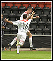 17/8/02               Copyright Pic : James Stewart                     .File Name : stewart-airdrie v stranraer 18.PAUL RONALD (9) CELEBRATES WITH LEE GARDNER (16) AFTER HE SCORED AIRDRIE'S WINNING GOAL....James Stewart Photo Agency, 19 Carronlea Drive, Falkirk. FK2 8DN      Vat Reg No. 607 6932 25.Office : +44 (0)1324 570906     .Mobile : + 44 (0)7721 416997.Fax     :  +44 (0)1324 570906.E-mail : jim@jspa.co.uk.If you require further information then contact Jim Stewart on any of the numbers above.........
