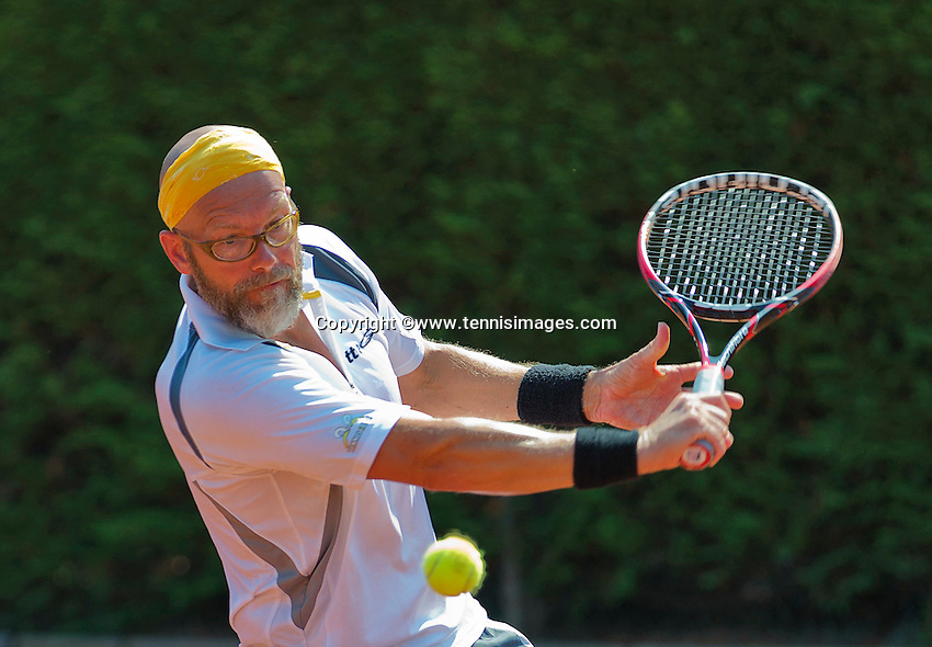 Netherlands, Amstelveen, August 23, 2015, Tennis,  National Veteran Championships, NVK, TV de Kegel,  Final men's 40+, Jeroen Bok<br /> Photo: Tennisimages/Henk Koster