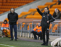 Blackpool's first team coach Richie Kyle shouts instructions to his team from the dug-out<br /> <br /> Photographer Alex Dodd/CameraSport<br /> <br /> Checkatrade Trophy Round 3 Blackpool v Wycombe Wanderers - Tuesday 10th January 2017 - Bloomfield Road - Blackpool<br />  <br /> World Copyright &copy; 2017 CameraSport. All rights reserved. 43 Linden Ave. Countesthorpe. Leicester. England. LE8 5PG - Tel: +44 (0) 116 277 4147 - admin@camerasport.com - www.camerasport.com