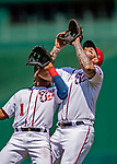 14 April 2018: Washington Nationals first baseman Matt Adams and second baseman Wilmer Difo both track an infield fly in the 5th inning against the Colorado Rockies at Nationals Park in Washington, DC. Adams got the out as the Nationals rallied to defeat the Rockies 6-2 in the 3rd game of their 4-game series. Mandatory Credit: Ed Wolfstein Photo *** RAW (NEF) Image File Available ***