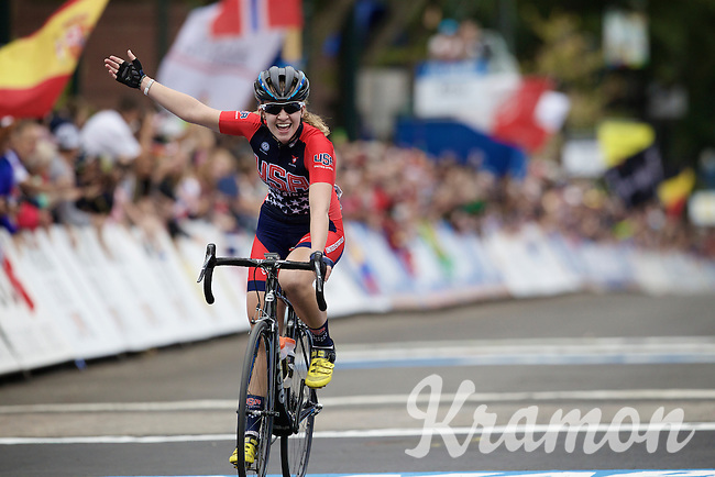 happy with 2nd/silver: Emma White (USA)<br /> <br /> Junior Women Road Race<br /> UCI Road World Championships Richmond 2015 / USA