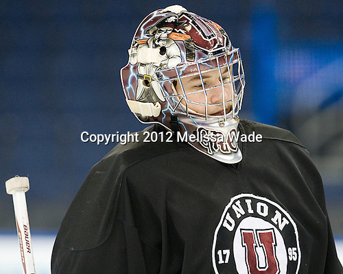 Troy Grosenick (Union - 1) - The Union College Dutchmen practiced on Wednesday, April 4, 2012, during the 2012 Frozen Four at the Tampa Bay Times Forum in Tampa, Florida.