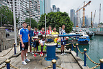 From left to right: Hong Kong Football Club's Gary Gheczy, Leicester City's Elliott Moore, Aston Villa's Khalid Abdo, West Ham United's Lewis Page, Stoke City's Lewis Banks, Wellington Phoenix's Justin Gulley, and Newcastle United's Dan Barlaser get ready to fire the Noon Day Gun to celebrate the launch of the HKFC Citi Soccer Sevens on 19 May 2016 in Causeway Bay, Hong Kong, China. Photo by Lucas Schifres / Power Sport Images