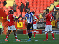 Steven Fletcher of Sheffield Wednesday shakes hands with Adedeji Oshilaja of Charlton Athletic as the match ends during Charlton Athletic vs Sheffield Wednesday, Sky Bet EFL Championship Football at The Valley on 30th November 2019