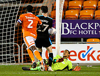 Blackpool's Christoffer Mafoumbi makes an important save from West Bromwich Albion U21&rsquo;s Oliver Burke<br /> <br /> Photographer Alex Dodd/CameraSport<br /> <br /> The EFL Checkatrade Trophy Northern Group C - Blackpool v West Bromwich Albion U21 - Tuesday 9th October 2018 - Bloomfield Road - Blackpool<br />  <br /> World Copyright &copy; 2018 CameraSport. All rights reserved. 43 Linden Ave. Countesthorpe. Leicester. England. LE8 5PG - Tel: +44 (0) 116 277 4147 - admin@camerasport.com - www.camerasport.com