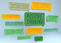 Positive healthy lifestyle speech bubbles hanging on strings